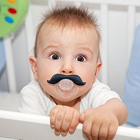 OMONG bebé de silicona divertido Pezón del niño maniquí Broma broma Chupete Chupete Cuidado Mordedor (Bigote negro 2)