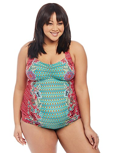 Motherhood Plus Size Floral Geo Print Cross Back Maternity - Swimsuit Maternity Motherhood Tankini