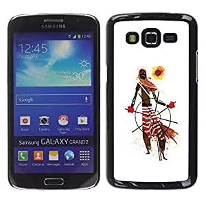 Shell-Star Arte & diseño plástico duro Fundas Cover Cubre Hard Case Cover para Samsung Galaxy Grand 2 II / SM-G7102 / SM-G7105 ( African Tribal Man Art Scarf Pattern Sun )