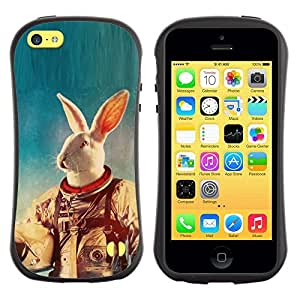 "Pulsar iFace Series Tpu silicona Carcasa Funda Case para Apple iPhone 5C , Blanca Traje espacial Conejo Experimento Animal Viajes"""