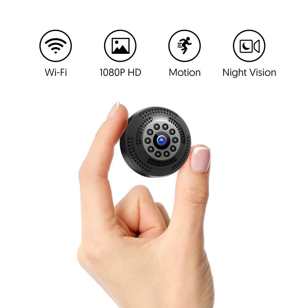 Victure Cámara Espia/Oculta 1080P Mini WiFi Cámara de Seguridad Inalámbrica portátil y Recargable Interior/Hogar con visión Nocturna por infrar ...