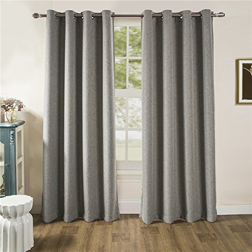 ComforHome Linen Look Blackout Window Curtain, Grommets Drapes for Living room Light Grey 54 x 72(1 Panel)