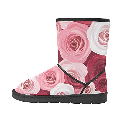 Classic Flowers Rose 5 On Bike Snow Pattern 12 Geometry Color1 InterestPrint Stripe 5 Womens Boots Size Print Colorful SwASdq4