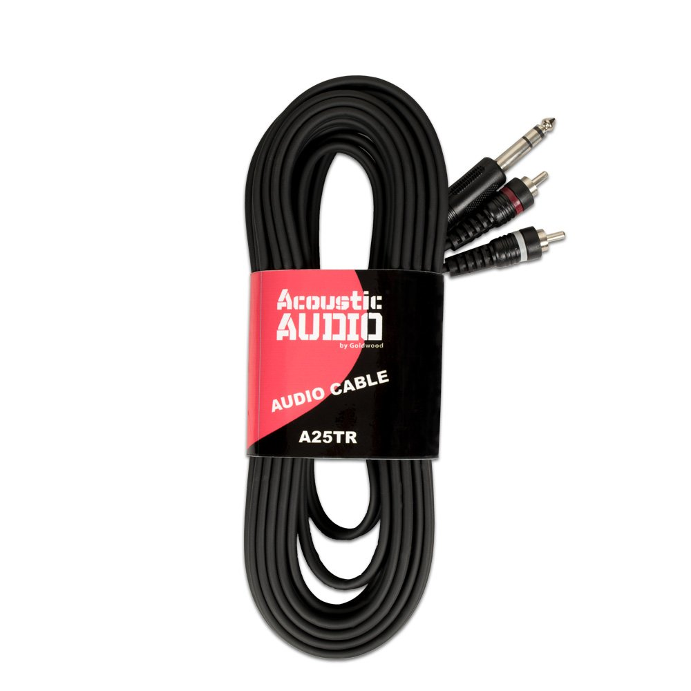 Acoustic Audio A25TR 25 Foot Dual RCA to TRS 1/4'' Jack Pro Audio Cable by Acoustic Audio by Goldwood