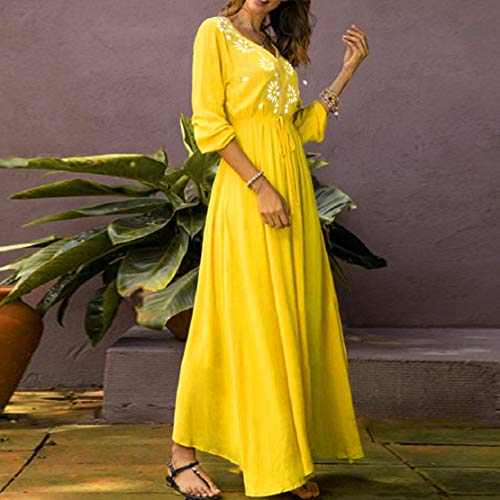 Women Print Long Dress Summer Beach Dress V Neck High Waist Dress Floral Printed Maxi Dress by Lowprofile Yellow by Lowprofile Dress (Image #4)