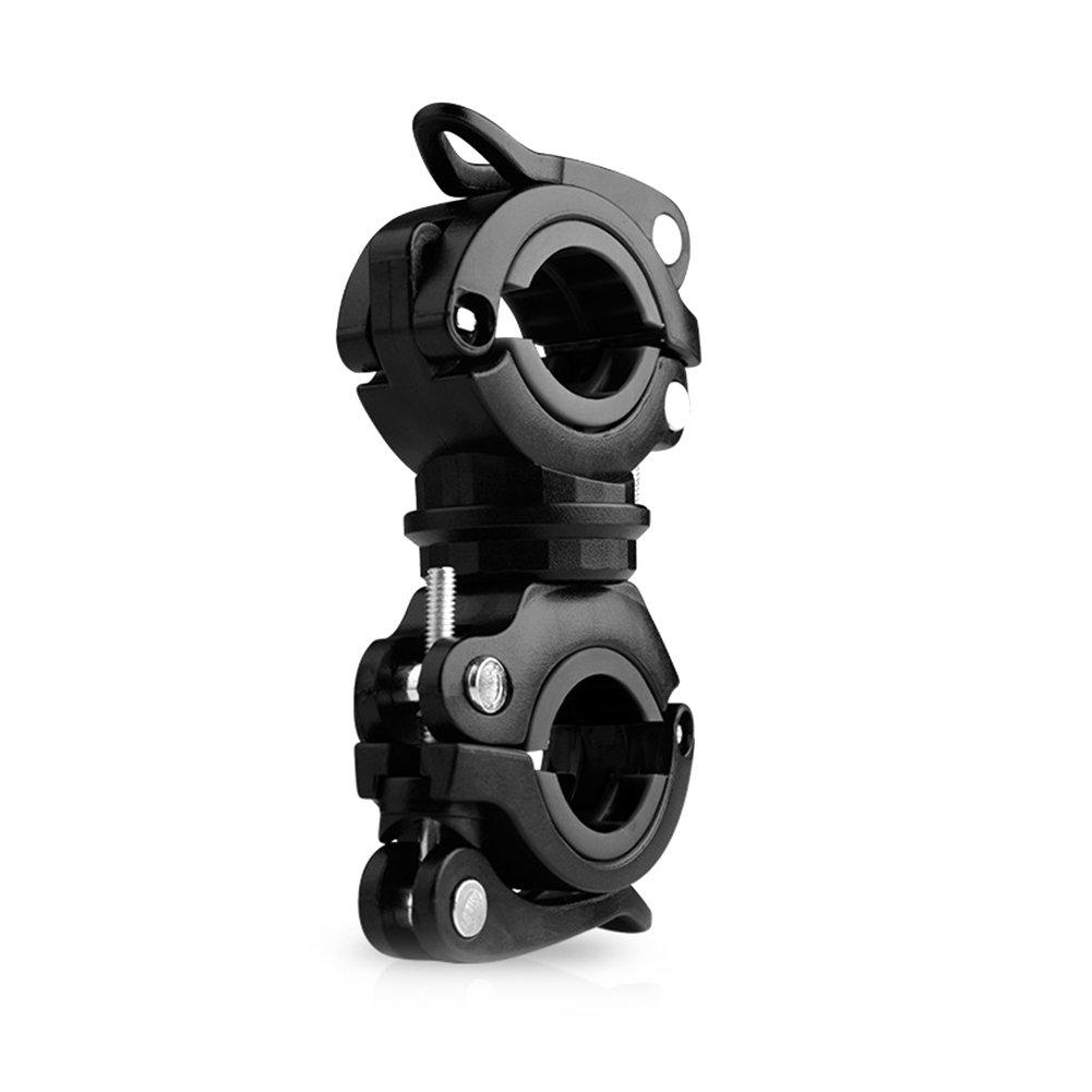 Zantec Soporte para segurar la linterna de bicicleta, Clip de luz de antorcha de bicicleta Lámpara de manillar delantera Soporte de rotación fijo Accesorio de bicicleta