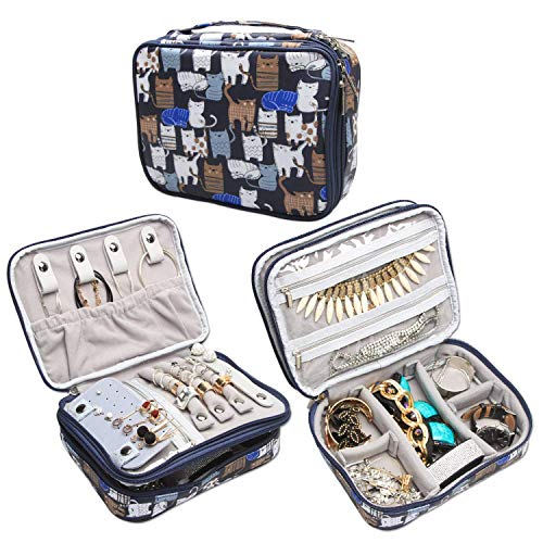 (Teamoy Travel Jewelry Organizer Case, Storage Bag Holder for Necklace, Earrings, Rings, Watch and More, High Capacity and Compact,Blue Cats)