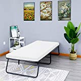 Guest Folding Bed Frame Camping Bed Cot Size Heavy Duty with Foldaway Extra Portable 3 inch Comfort Foam Mattress