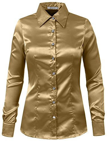 8110ce3a5a185d NE PEOPLE Womens Light Weight Long Cuff Sleeve Button Down Satin Shirt -  Buy Online in Oman.