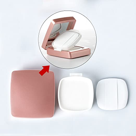 15 ML 0.5 oz Air Cushion Powder Puff Box Base Líquida BB Cream Container Holder Dressing DIY Maquillaje con Powder Puff Esponja y Espejo (Flor): Amazon.es: ...