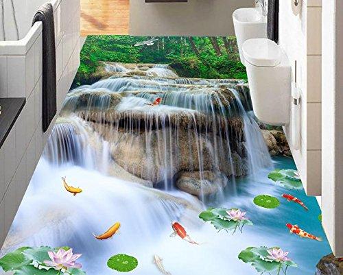 BZDHWWH 3D Flooring Waterfall Lotus Carp Photo Wallpaper for Size Bathroom Living Room Bedroom Lobby 3D Floor Tiles Mural,110Cm X 160Cm by BZDHWWH (Image #2)