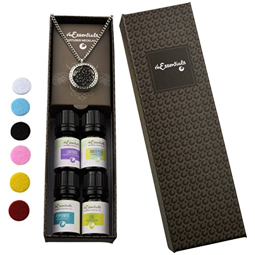 Flower CZs Essential Oil Diffuser Necklace Stainless Steel Locket Pendant with 24 Chain+ 4 Essential Oils (Lavender, Peppermint, Inner Calm, Zen) Gift Set
