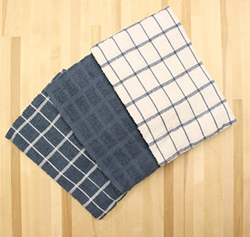 Ritz Terry Cotton Kitchen Dish Towels, Federal Blue, 3