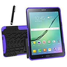 Galaxy Tab S2 9.7 Case, Tab S2 9.7 Case, Asstar Shockproof Heavy Duty Rugged Hybrid Kickstand Protective Case for Samsung Galaxy Tab S2 9.7 inch Tablet with 1x Stylus Pen for Free (Purple)