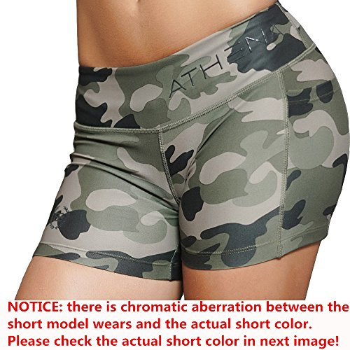 EVERWORTH Women's Casual Gym Compression Running Shorts Fitness Workout Training Yoga Short Pants Camouflage S Tag L
