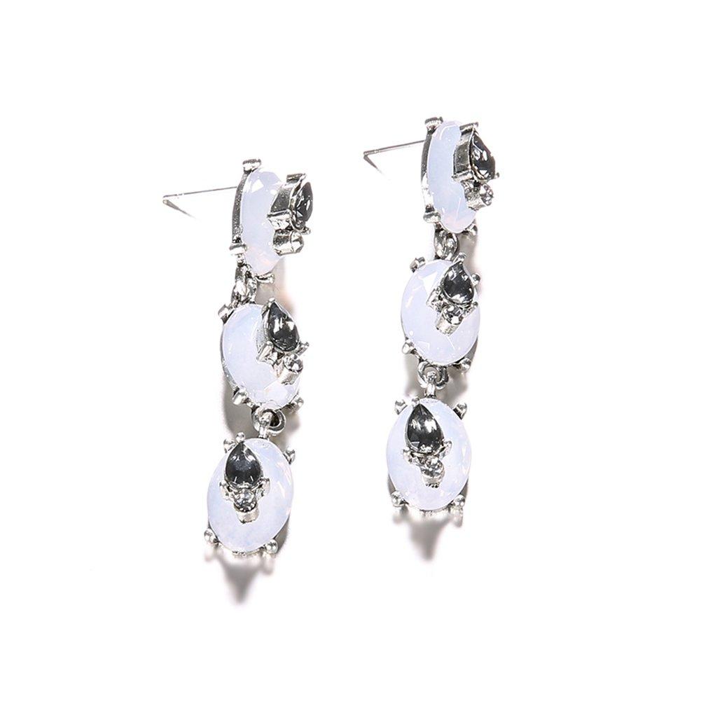 Wintefei Fashion Elegant Zircon Drop Stud Earrings Women Party Banquet Jewelry Gift - Silver