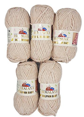 - Himalaya Dolphin knitting yarn 5x100 gram, baby wool, 500 gram (17,63 oz) wool Super Bulky 655 yds (600m) (light beige 80342)