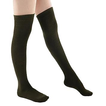 ... de Las Mujeres Medias Calcetines Calcetines de algodón Peinado Calcetines Larga Calcetines de Rodilla Verde Militar Libero Dimensione: Amazon.es: Hogar