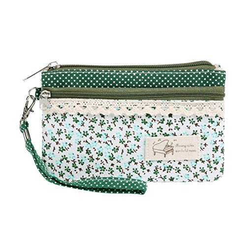 Wallet Pouch (Damara Womens Floral Dotted Versatile Canvas Wallet,Green)
