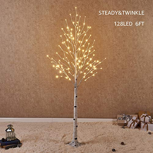 Hairui Lighted White Birch Tree 6FT 128L for Christmas Holiday Party Decorations TreePlug in Indoor Outdoor Use (Branches Lighted Silver)