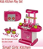 LARGE TODDLER KIDS CHILDS KITCHEN PLAYSET ROLE PLAY FOOD COOKER PANS TOY XMAS (Small Pink Kitchen)
