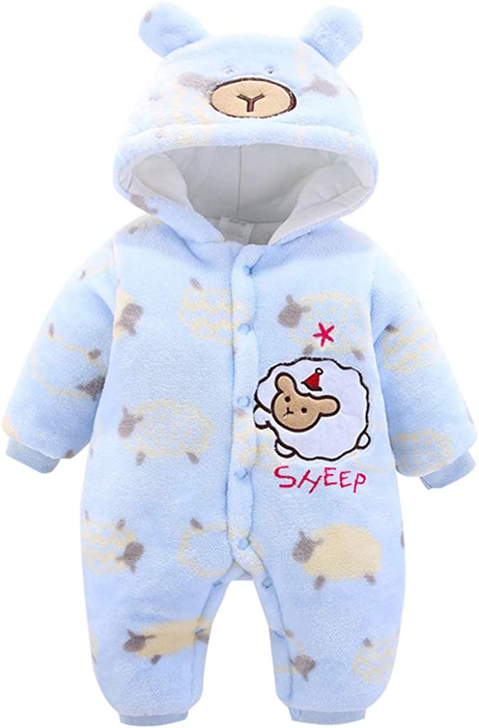 JiAmy Baby Hooded Romper Flannel Winter Jumpsuit Infant Boys Girls Sheep Cartoon Pajamas Outfits