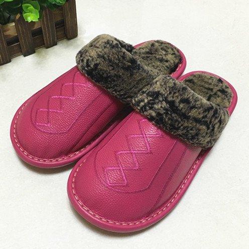 Pantofole fankou femmina maschio inverno anti-slittamento di spessore caldo cotone shoes home paio di pantofole di cotone ,39-40, in rosso