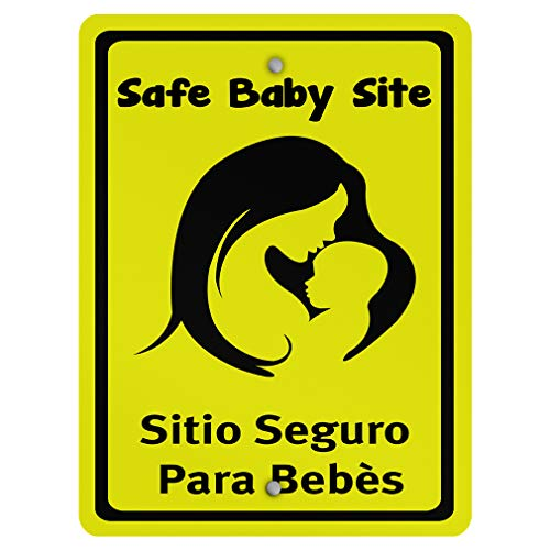 (Safe Baby Site Sitio Seguro para Bebés Style 2 Family Aluminum Weatherproof Metal Sign Vertical Street Signs)