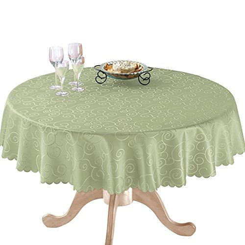 Solid Scroll Scalloped Tablecloth Polyester