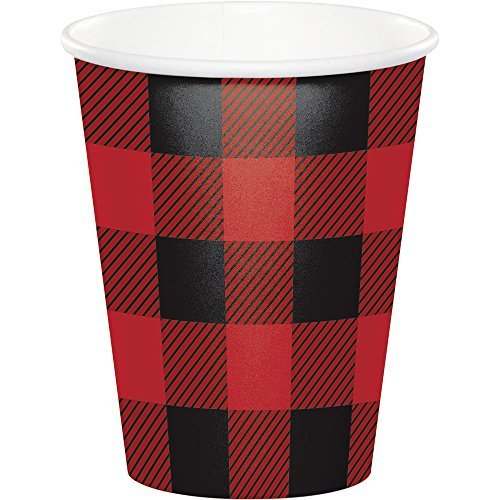 Creative Converting 321827 Buffalo Plaid Cups, 9 oz, Red & Black]()