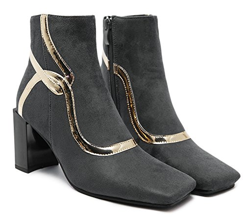 Aisun Damen Elegant Glitzer Dekor Blockabsatz High Heels Kurzschaft Stiefel Mit Reißverschluss Grau