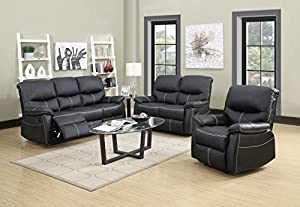 3PC Motion Sofa Loveseat Recliner Set Living Room Bonded Leather Furniture & Amazon.com: 3PC Motion Sofa Loveseat Recliner Set Living Room ... islam-shia.org