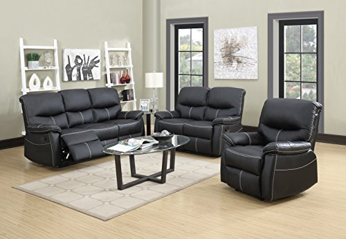 3 PCS Motion Sofa Loveseat Recliner Sofa Set Living Room Bonded Leather (Leather Living Room Set)