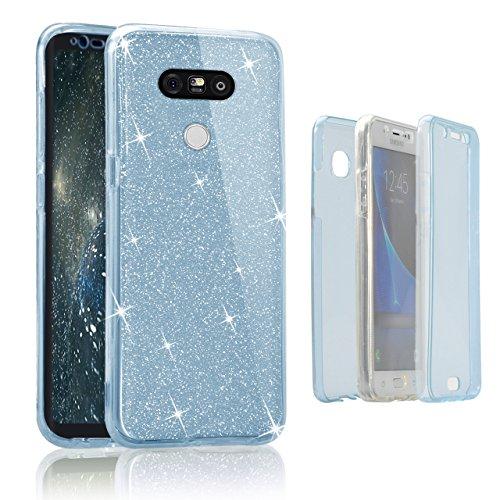 Funda Doble para LG G5, Vandot Bling Brillo Carcasa Protectora 360 Grados Full Body | TPU en Transparente Ultra Slim Case Cover | Protección Completa Delantera y Trasera Cocha Smartphone Móvil Accesor Bling Blue
