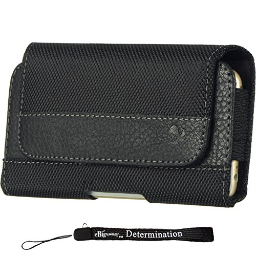Sport Nylon Leather Black Horizontal Hip Sleeve Case [CEL963] for Samsung Galaxy S10 S10e S10+ S9 S8 J7 J3 + eBigValue HandStrap Black Fabric Horizontal Case