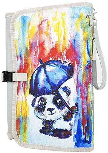 Special Edition Portable Baby Diaper Changing Pad with Matching Pacifier and Toy Case Strap and Pouch Bag (Panda)