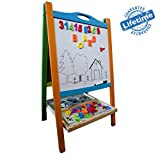Elk & Bear Double Sided Wooden Magnetic Whiteboard Painting Easel for Small Kids & Toddlers Non Toxic Eco Friendly Standing Educational Toy-Best With Crayola Kits, Arts and Crafts Supplies