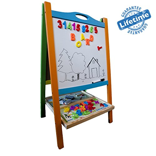 2 Station Art Easel (Elk & Bear Double Sided Magnetic Whiteboard Painting Easel for Small Kids and Toddlers)
