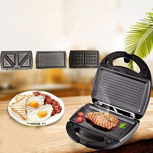 Appareil à Croque Monsieur 3 en 1 Machine à Sandwich, Gaufrier, 750W Appareil à Sandwich avec 3 Plaques Antiadhésives et Interchangeables, Thermostat Automatique.