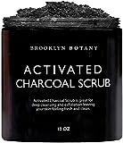 Premium Activated Charcoal Scrub 10 oz - Deep Exfoliation, Pore Minimizer & Reduces Wrinkles, Acne Scars, Blackhead Remover & Anti Cellulite Treatment - Body Scrub & Facial Cleanser - Brooklyn Botany