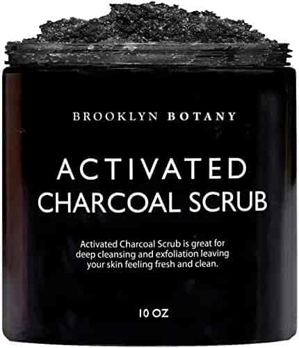 Brooklyn Botany Premium Activated Charcoal Scrub - Deep Exfoliation, Pore Minimizer & Reduces Wrinkles, Acne Scars, Blackhead Remover & Anti Cellulite Treatment - Body Scrub & Facial Cleanser - 10 oz