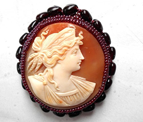 SALE Museum Quality Cameo of Hera, Goddess of Love & Marriage, Hand Carved Shell Cameo Brooch/Pendant w/ Garnet Hearts and Seed. One of a Kind!