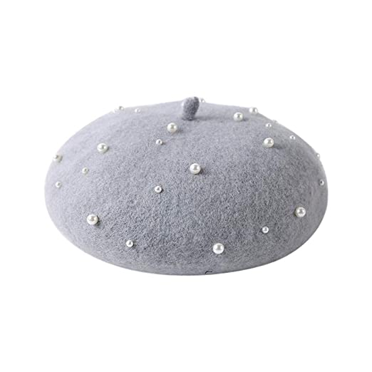 3d595897f4790 Outsta Ladies Hat Autumn and Winter Warm Fashion Wild Pearl Beret Dome  TrendBeanie Caps Warm Hat at Amazon Women s Clothing store
