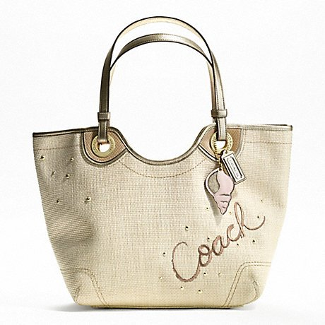 Coach Lexi F16586 Ivory Straw with Gold Leather Accents