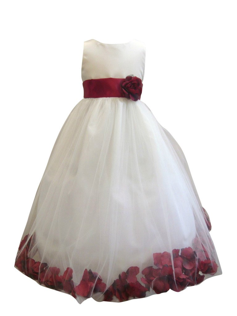 Wedding Pageant Flower Petals Girl Ivory Dress Paperio - Size Red Apple 8
