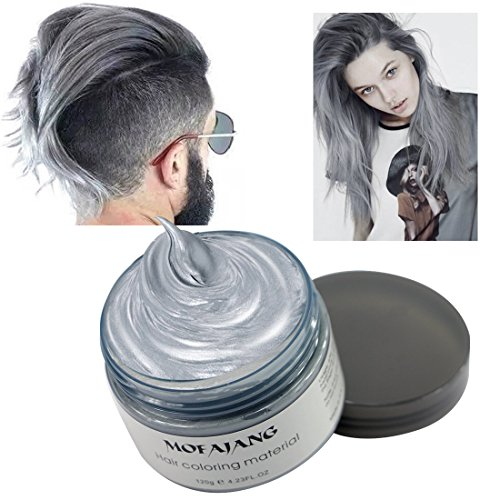 Hair Coloring Wax, Ash Grey Disposable MOFAJANG Instant Matte Hairstyle Mud Cream Hair Pomades for Kids Men Women to Cosplay Nightclub Masquerade Transformation -