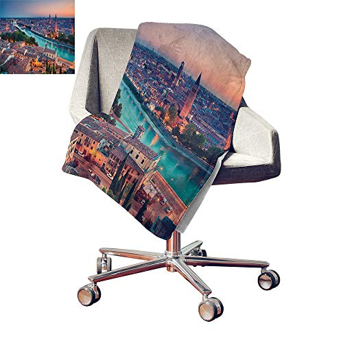 - Iridescent cloud European Lightweight E x tra Big Verona Italy During Summer Sunset Blue Hour Adige River Medieval Historcal Microfiber All Season Blanket Aqua Coral Green Bed or Couch 62