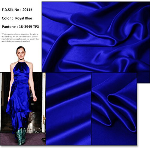 19 Mm Silk (F.D.SILK 19MM 100% Mulberry Royal Blue Silk Charmeuse Fabric By the Yard, 48 Colors, Royal Blue)