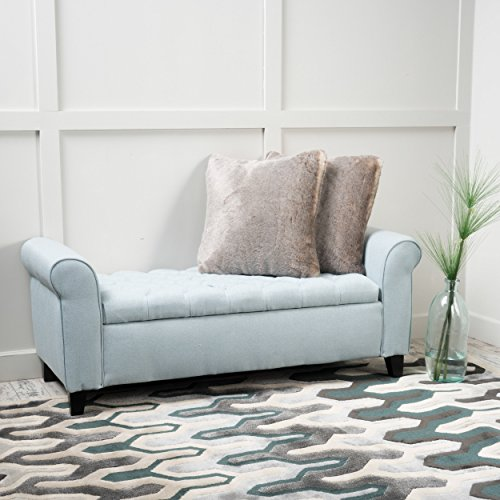 Charlemagne Light Sky Tufted Fabric Armed Storage Bench (Foot Bed Bench)