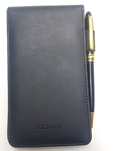 Mini 3x5 Pocket Notepad Holder Set Leather Memo Pad Book Cover Small 3.5 Flip Jotter Notebook Note Case to Jot Notes to Do List for Police Men Women Business Travelers ()